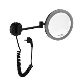 Зеркала косметические с подсветкой увеличением настенные настольные Зеркала с присосками. Wasserkraft K-1004 BLACK чёрное настенное зеркало с LED-подсветкой 3-х кратным увеличением