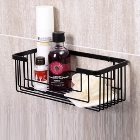 Полки для душа Сетки Полки для ванной стеклянные Полки для полотенец. WASSERKRAFT K-711 BLACK чёрная металлическая полка сетка для душа