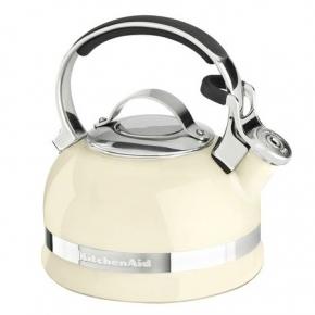 Электрические чайники и кофемашины. KitchenAid чайник со свистком классический 1,89 литра Кремовый для нагрева на плите
