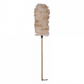 Уборка. Щётка для пыли из овечьей шерсти с деревянной ручкой 70 см