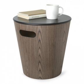 . Корзина табурет Woodrow чёрный-орех с крышкой деревянная