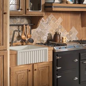 Раковины для кухни. Kerasan Hannah Hampshire Раковина кухонная керамическая двойная 60 см белая