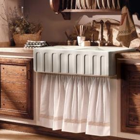 Раковины для кухни. Kerasan Hannah Surrey Раковина кухонная керамическая двойная 100,3 см белая