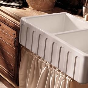 Раковины для кухни. Kerasan Hannah Surrey Раковина кухонная керамическая двойная 80 см белая