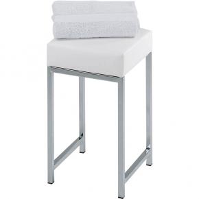 Банкетки для ванной Пуфы Интерьерные Табуреты для ванной и душа Откидные сиденья. Decor Walther Табурет с мягким белым сиденьем для ванной White
