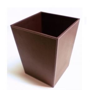 Офисные вёдра Корзины для бумаг Урны. Ведро для мусора кожаное коричневое квадратное Конус