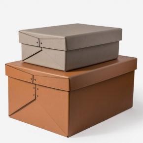 Хранение и порядок. Pinetti Origami кожаная коробка универсальная ёмкость коньяк таупе