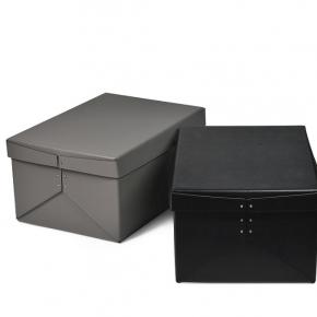 Хранение и порядок. Pinetti Origami кожаная коробка универсальная ёмкость серый чёрный