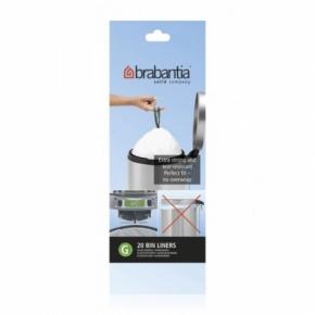 Мусорные баки и вёдра для кухни. Пакеты для мусора Brabantia (в рулонах) 23/30л 20шт. (размер G)