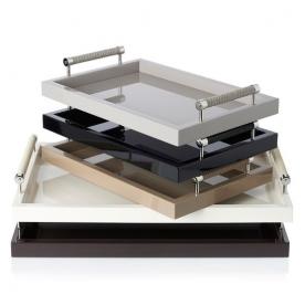 Аксессуары и Мебель для дома. Lacquered trays by Riviere подносы кожаные с ручками