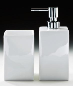 Аксессуары для ванной настольные. Настольные аксессуары для ванной белые фарфоровые дозатор и стакан