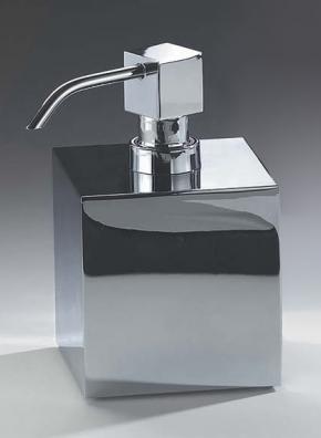 Аксессуары для ванной настольные. Дозатор для жидкого мыла настольный хромированный Куб