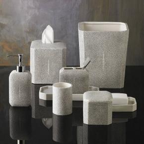 Аксессуары для ванной настольные. Настольные аксессуары для ванной фарфоровые декор Шагрень Shagreen Kassatex