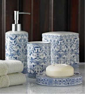 . Настольные аксессуары для ванной фарфоровые с голубой росписью ORSAY BLUE
