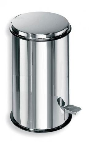 . Ведро с педалью антивандальное для мусора сталь полированная Lineabeta 3 литра и 5 литров