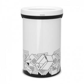 Мусорные баки и вёдра для кухни. Мусорный бак с открытой крышкой 60 литров White белый