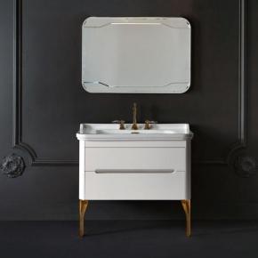 Мебель для ванной комнаты. Kerasan Waldorf База подвесная под раковину 100см, цвет матовый белый/бронза