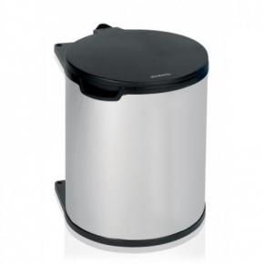 Мусорные баки и вёдра для кухни. Ведро для мусора Brabantia встраиваемое 15 литров Brilliant Steel полированная сталь
