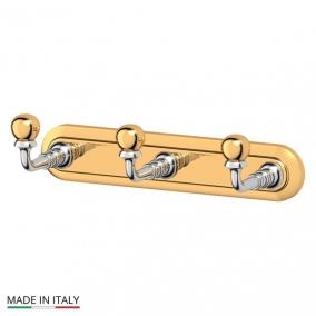 Аксессуары для ванной настенные. Планка с 3-мя крючками 17 cm хром-золото 3SC STILMAR STI 102