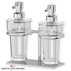 Аксессуары для ванной настольные. Держатель с 2-мя дозаторами жидкого мыла настольный - комплект ELLUX Domino DOM 003-C05