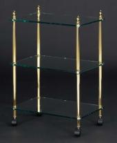 Этажерки для ванной. Этажерка с роликами стеклянная прямоугольная тройная для ванной Cristal et Bronze декор Шишки Cannele
