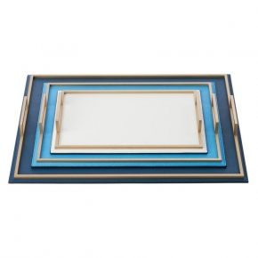 . Кожаный поднос с металлическими ручками Defile Ocean Gold rectangular trays by GioBagnara