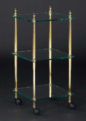 Этажерки для ванной. Этажерка с роликами стеклянная квадратная тройная для ванной Cristal et Bronze декор Шишки Cannele