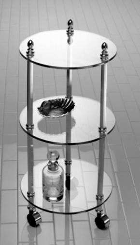 Этажерки для ванной. Этажерка с роликами стеклянная круглая тройная для ванной Cristal et Bronze декор Шишки Cannele