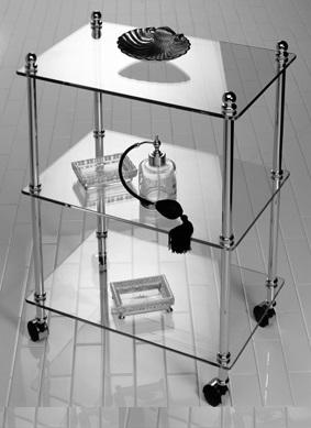 Этажерки для ванной. Этажерка с роликами стеклянная прямоугольная тройная для ванной Cristal et Bronze