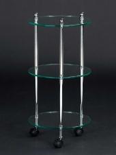 Этажерки для ванной. Этажерка с роликами стеклянная круглая тройная для ванной Cristal et Bronze