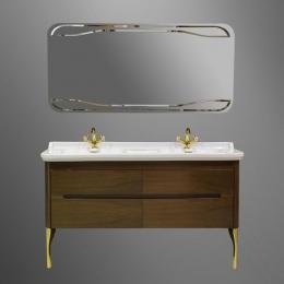 Мебель для ванной комнаты. Kerasan Waldorf База подвесная под раковину 150см, цвет темный орех/золото