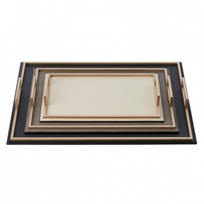 Аксессуары и Мебель для дома. Кожаный поднос с металлическими ручками Defile Gold rectangular trays by GioBagnara