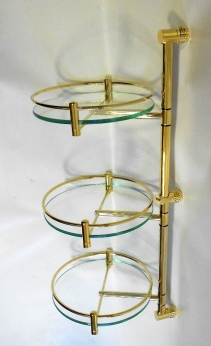 Полки для душа Сетки Полки для ванной стеклянные Полки для полотенец.   Полка стеклянная для ванной тройная круглая Золотая