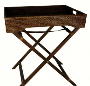 Мебель и Аксессуары для ванной из натурального дерева, Раттана и Бамбука. Раттан Rattan плетёный складной столик-поднос тёмный