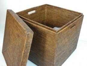 Хранение и порядок. Раттан Rattan Плетёная корзина для хранения квадратная Столик
