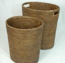 Мебель и Аксессуары для ванной из натурального дерева, Раттана и Бамбука. Раттан Плетёное ведро RATTAN тёмное Овальное