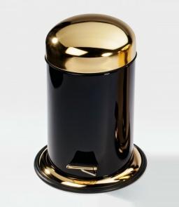 . Ведро с педалью чёрное декор золотая крышка