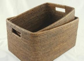 Хранение и порядок. Раттан Rattan плетёные корзины с ручками натуральный тёмный универсальные