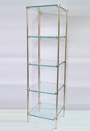 Этажерки для ванной. T2 Этажерка стеклянная квадратная Золотая 5 полок