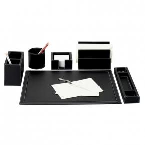 Аксессуары для кабинета Deluxe. Настольные аксессуары для офиса кожаные Phil office accessories, black by GioBagnara