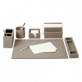 Аксессуары для кабинета Deluxe. Настольные аксессуары для офиса кожаные Phil office accessories, mud by GioBagnara