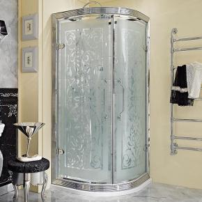 Душевые кабины Створки стеклянные Шторки для душа. Lineatre Tiffany TP900 Полукруглое ограждение с 2мя распашными дверями 90х90хh200 см