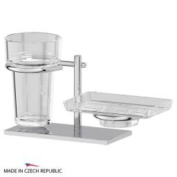 Аксессуары для ванной настольные. Держатель со стаканом и мыльницей настольный - комплект ELLUX Domino DOM 004-C04