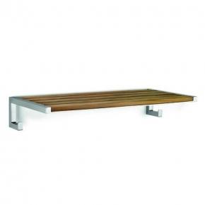 Мебель и Аксессуары для ванной из натурального дерева, Раттана и Бамбука. Полка для полотенец с крючками Натура деревянная Тиковая