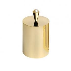 Аксессуары для ванной с кристаллами Swarovski. Ёмкость косметическая с крышкой круглая настольная золотая