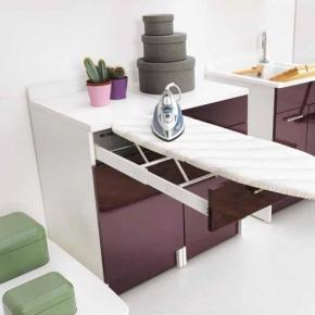 Итальянские постирочные раковины Мебель и оборудование для постирочной комнаты. Итальянская мебель для постирочной встроенная гладильная доска тумба Melanzana Colavene