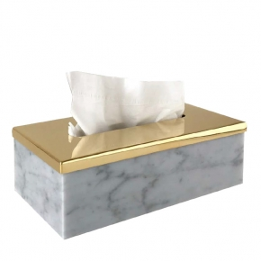 . Elegance Gold Bianco Carrara мраморная салфетница Золото