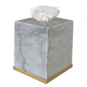 . Elegance Gold Bianco Carrara мраморная салфетница Золото куб