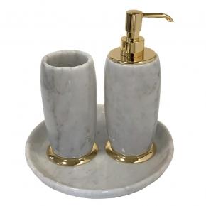 . Elegance Gold Bianco Carrara мраморные аксессуары для ванной настольные Золото