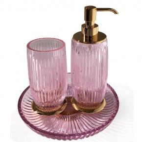 Аксессуары для ванной настольные. Elegance Gold Rosa хрустальные аксессуары для ванной Золото